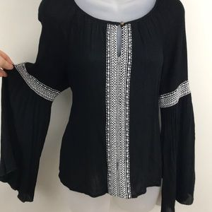 Embroidered Black Top w/ Peasant Sleeves